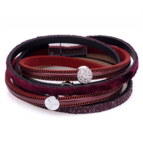 Double Wrap PU Leather Bracelet in Burgandy